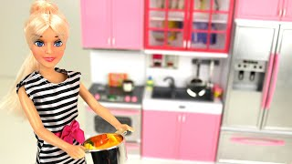 Barbie Doll Pretend Play Kitchen Set Food Cooking Toy For Kids - Fun Playtime Learning