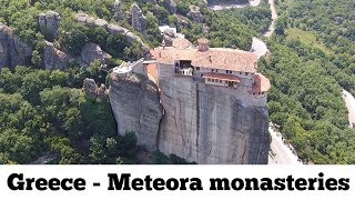 "Meteora monasteries ""middle of the sky"" Metéora (Greek: Μετέωρα) Drone Aerial Video : Greece"