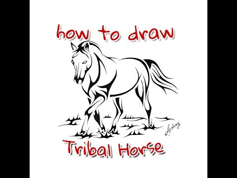 How to draw Tribal Horse - Tribal Tattoo Design Style - Art Maker Akshay