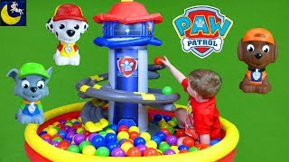 Paw Patrol Lookout Tower Playland Ball Pit LOTS of Balls Surprise Toys Blind Bags Sea Patrol Toys!
