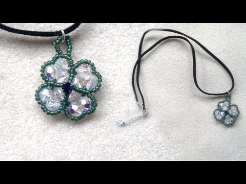 Beading4perfectionists : 4-leaf clover pendant made with 6mm round swarovski AB beading tutorial