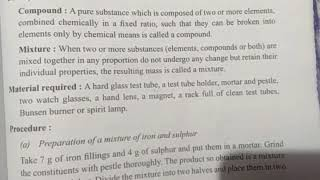Science class 9 , Experiment question,  To prepare a mixture