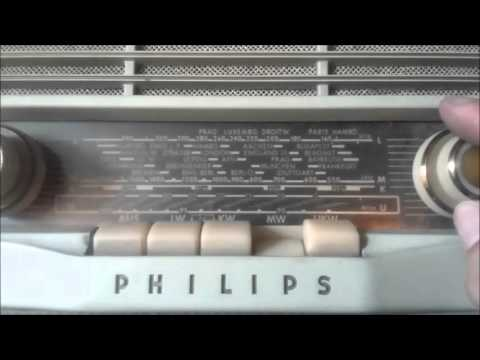 antigua radio tocadiscos portatil philips alemán valija funcionando 1950