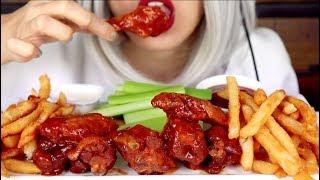 ASMR Eating Hot Wings, Fries, Celery *No Talking Mukbang