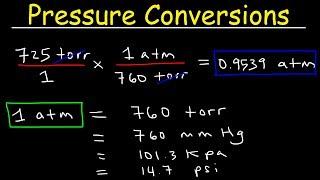 Gas Pressure Unit Conversions - torr to atm, psi to atm,  atm to mm Hg, kpa to mm Hg, psi to torr