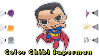 Coloring pages for kids Chibi Superman | Мультик - раскраска для детей Чиби Супермен