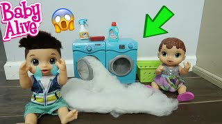 BABY ALIVE Drake Brakes The Washer Cleaning Routine Fail!! baby alive videos