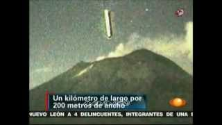 AMAZING FOOTAGE - TWO HUNDRED METER LONG ROD UFO ENTERS POPOCATEPETI VOLCANO MEXICO OCTOBER 2012