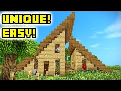 Minecraft Tutorial: Easy Unique Wooden Survival House Build