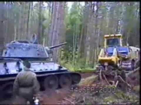 Russian T34 pulled from a bog