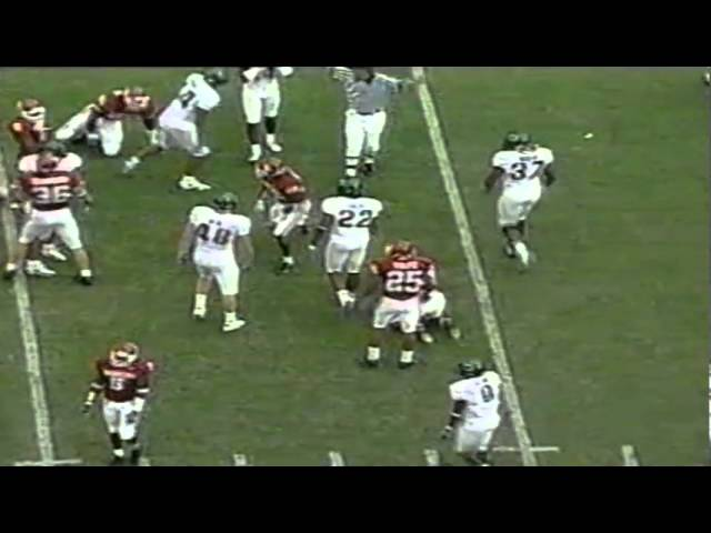 Big hit by Oregon LB Justin Andrews on punt vs. Oklahoma 9-18-2004