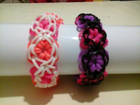 Tuto bracelet lastique fleur videolike - Comment faire une fleur en elastique ...