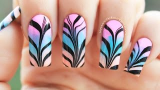 Водный маникюр видео-урок. Дизайн маникюра 2017 Blue Water Marble Nail Art Tutorial-XilfyHD.com