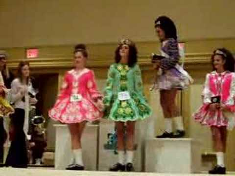 The U15 dancers receive their placements at the Southern Region Oireachtas 2006.