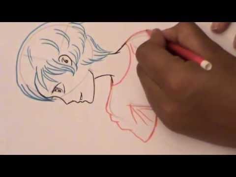 رسم ولد صغير من الجانب _ تمرين يومي