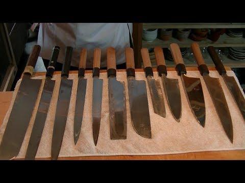 包丁の紹介と研ぎ方 包丁の研ぎ方は5分40秒~です。