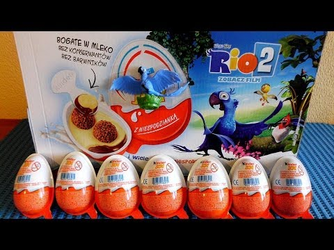Rio 2 Movie 12 Kinder Choco Surprise Eggs Unboxing Toys To Collect In Europe video