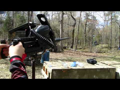 Shooting a 50 Cal. Paintball Turret