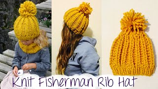 HOW TO KNIT FAST AND EASY CHUNKY RIBBED HAT