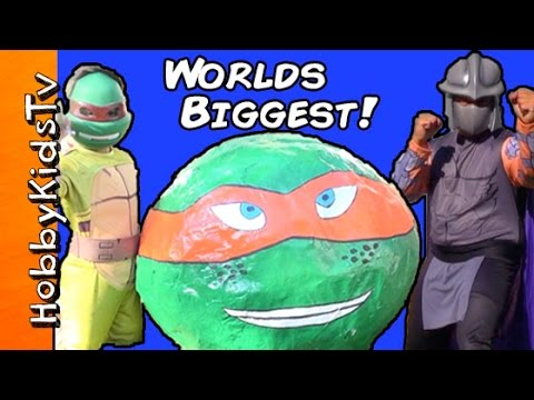 World's Biggest GIANT TMNT Surprise Egg! TOYS Shredder+Teenage Mutant Ninja Turtles by HobbyKidsTV