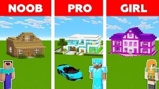 Minecraft NOOB vs PRO vs GIRL: HOUSE BUILD CHALLENGE in Minecraft / Funny Animation