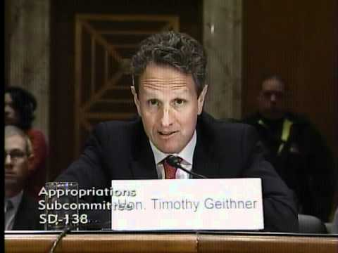 Senator Kirk questions Secretary of the Treasury Timothy Geithner