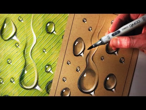How to Draw Water Drops on Toned Tan Paper