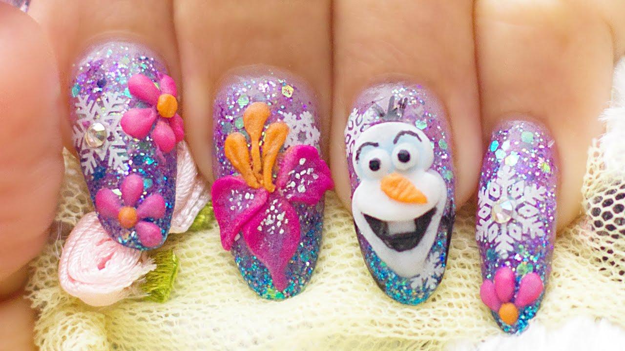olaf acrylic nails