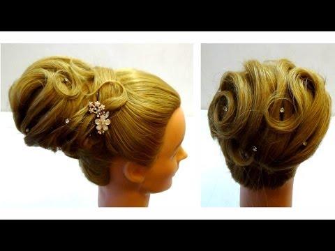 Cвадебная прическа на средние волосы. Прическа на вечер. Wedding updo for medium hair