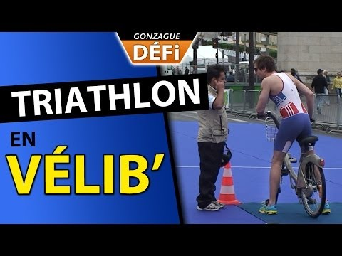 image vidéo Gonzague TV : Incruste en vélib sur un triathlon international