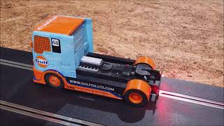 Scalextric 1/32 Slot Cars Gulf Race Truck with rear led's