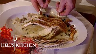 Struggling Chef Constantly Fails To Debone Fish In Front Of Customers | Hell's Kitchen