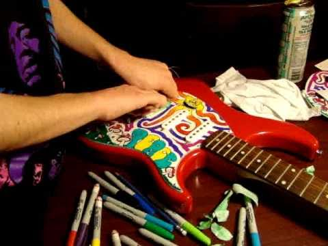 Drawing On A Guitar With Sharpies
