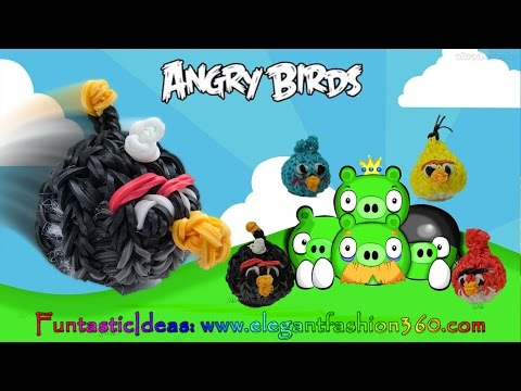 Rainbow Loom Angry Bird(black) 3d Charm - How To Loom Bands Tutorial By Elegant Fashion 360 video