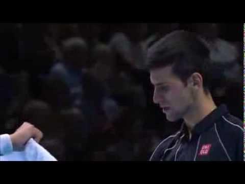 Rafael Nadal Vs Novak Djokovic Barclays ATP World Tour Finals 2013 Monday Hot Shot Djokovic !!!