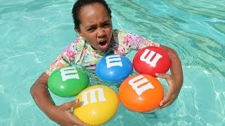 Learn Colors For Kids Toddlers - M&M's Candy In Pool - Nursery Rhymes Songs For Children