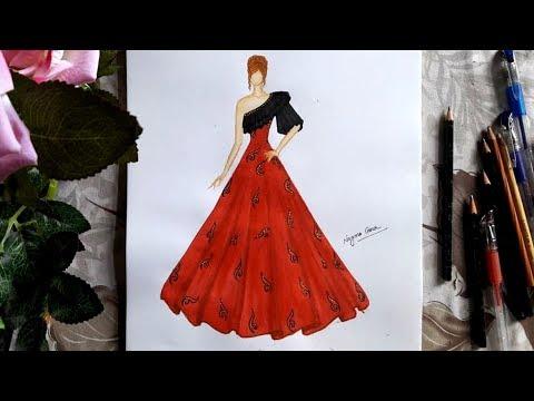 Fashion illustration: beautiful evening dress design