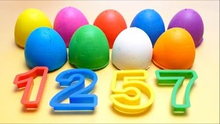 English Learning - Numbers for Kids - Play-Doh Surprise Eggs with Toys