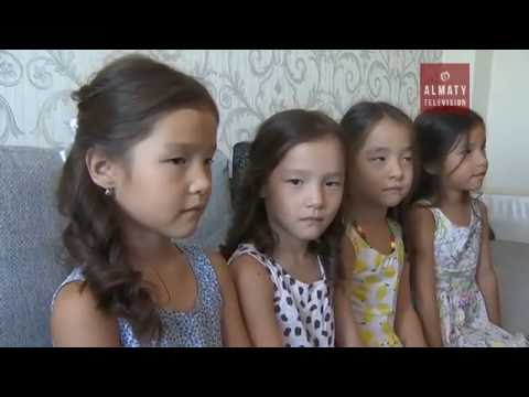 Девочки-четверняшки готовятся пойти в первый класс в Алматы (17.08.16)