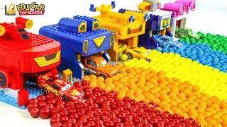 Learning Color Disney Cars Lightning McQueen Mack Truck Gumball garage for kids car toys