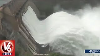 AP Irrigation Dept Officials Opens Srisailam 8 Gates As Heavy Inflow Hits Dam
