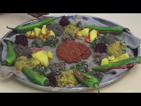 Ethiopian Food - Beyeyanetu A Vegan Platter Of Food On Injera - Miser Gomen Wot Enjera Sinig