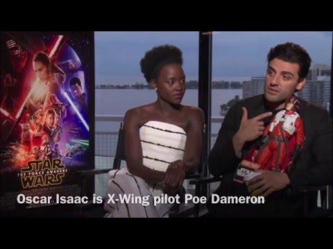 Oscar Isaac and Lupita Nyong'o talk Star Wars The Force Awakens and Latino children. Interview