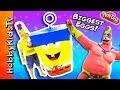 Worlds BIGGEST InvinciBubble SpongeBob + Mr.SuperAwesomeness Play-Doh Sandy by HobbyKidsTV