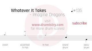 Download Lagu Imagine Dragons - Whatever It Takes Drum Score Gratis STAFABAND