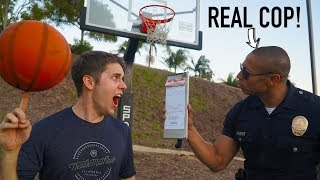 Challenging a POLICE OFFICER to Basketball Trick Shot HORSE!
