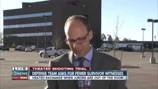 video We heard stories of survival by those in the Aurora theater and acts of heroism by those who rushed in to help. But on Wednesday, things also got heated in the courtroom. People vs. James...