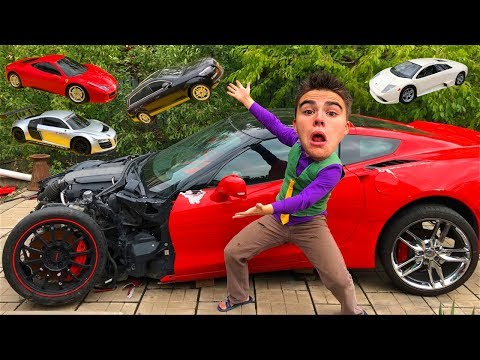 Mr. Joe on Chevy Camaro found Toy Cars Ferrari & Lamborghini & Audi R8 in Big Corvette for Kids