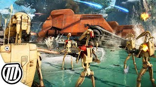Star Wars Battlefront 2 HUGE Battle of Kashyyyk CLONE WARS GAMEPLAY