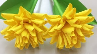 How to Make Yellow Flower with Paper - Making Paper Flowers Step by Step - DIY Paper Crafts
